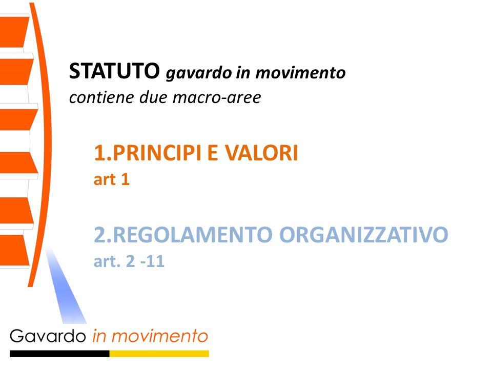 STATUTO gavardo in movimento contiene due macro-aree 1.PRINCIPI E VALORI art 1 2.REGOLAMENTO ORGANIZZATIVO art.