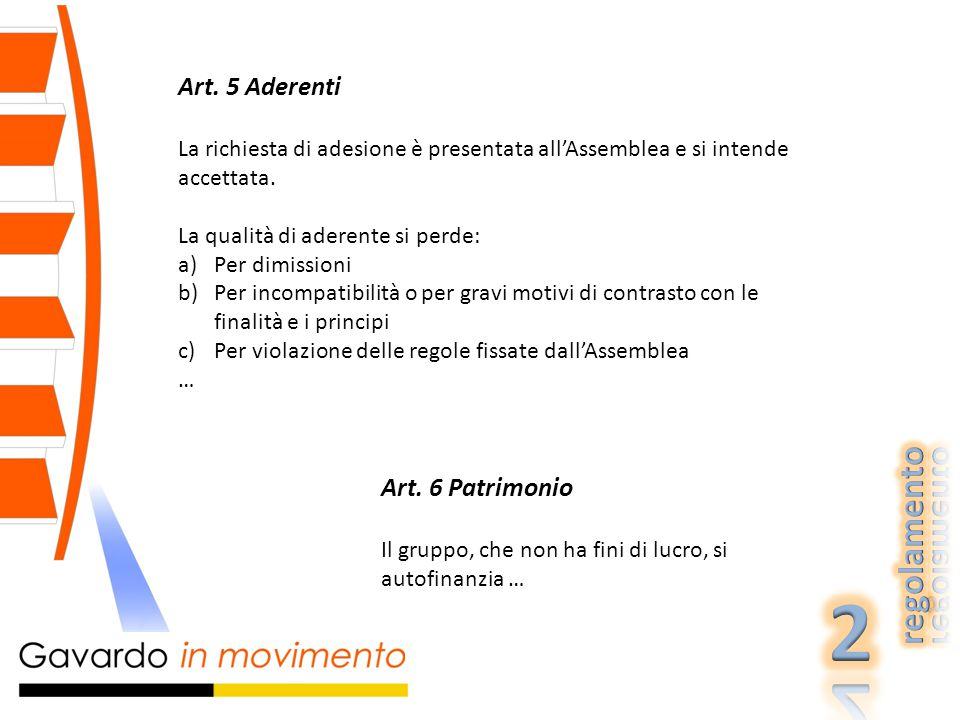 Art. 5 Aderenti La richiesta di adesione è presentata all'Assemblea e si intende accettata.