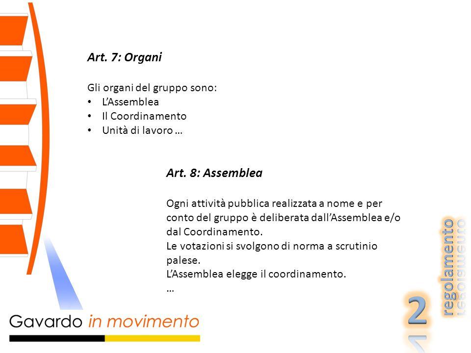 Art.9: Coordinamento Il coordinamento viene eletto annualmente dall'Assemblea.