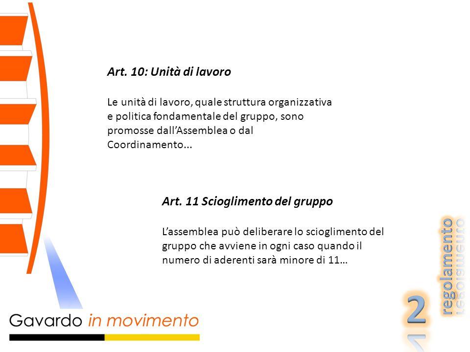 Art. 10: Unità di lavoro Le unità di lavoro, quale struttura organizzativa e politica fondamentale del gruppo, sono promosse dall'Assemblea o dal Coor