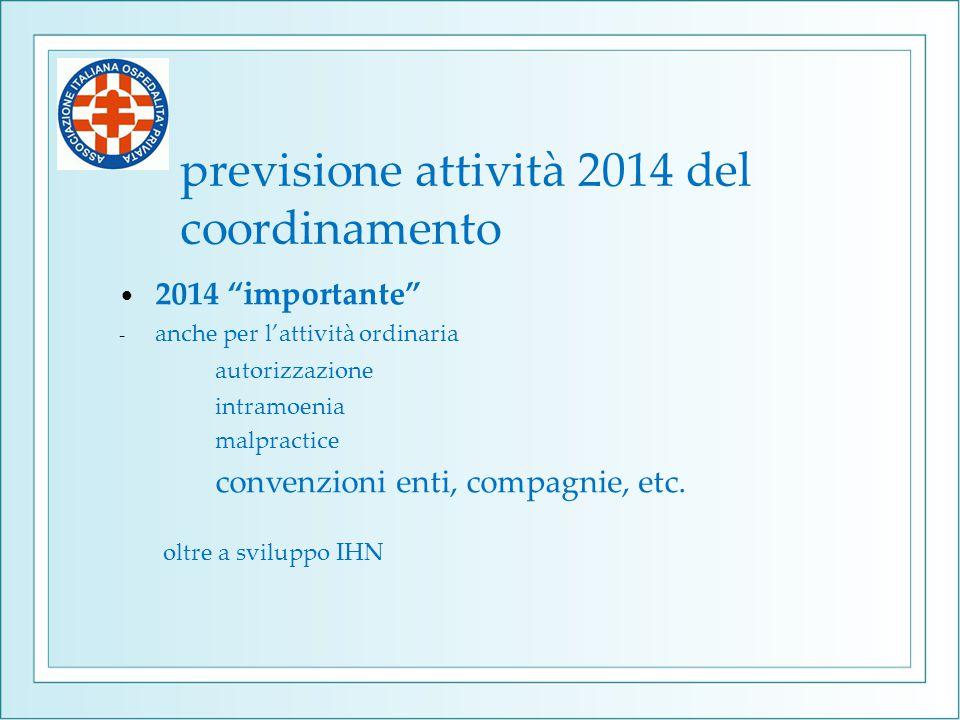 """previsione attività 2014 del coordinamento 2014 """"importante"""" - anche per l'attività ordinaria autorizzazione intramoenia malpractice convenzioni enti,"""