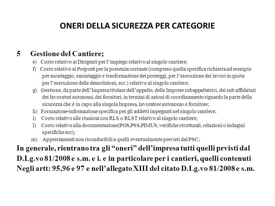 ONERI DELLA SICUREZZA PER CATEGORIE 5Gestione del Cantiere; e) Costo relativo ai Dirigenti per l'impiego relativo al singolo cantiere; f) Costo relati