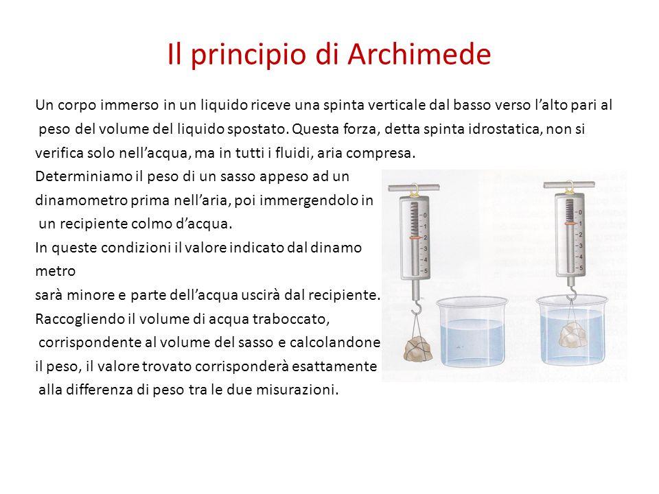 Il principio di Archimede Un corpo immerso in un liquido riceve una spinta verticale dal basso verso l'alto pari al peso del volume del liquido sposta