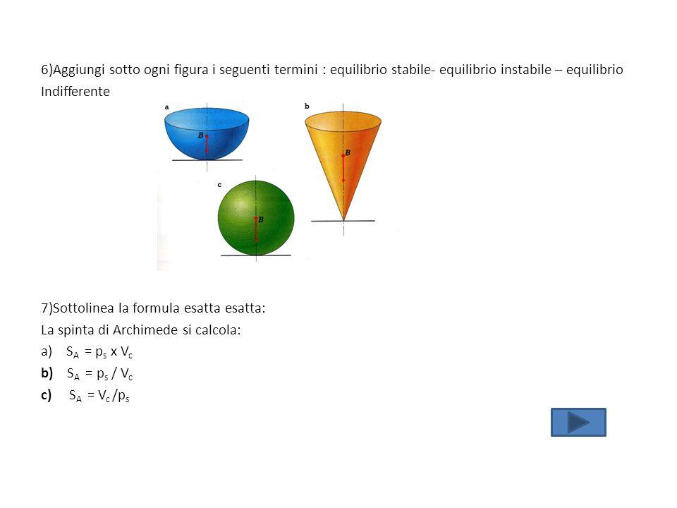 6)Aggiungi sotto ogni figura i seguenti termini : equilibrio stabile- equilibrio instabile – equilibrio Indifferente 7)Sottolinea la formula esatta es