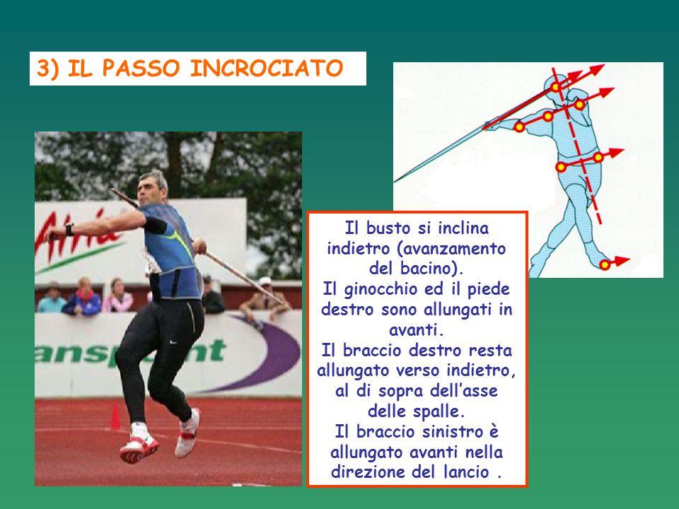 3) IL PASSO INCROCIATO Il busto si inclina indietro (avanzamento del bacino). Il ginocchio ed il piede destro sono allungati in avanti. Il braccio des