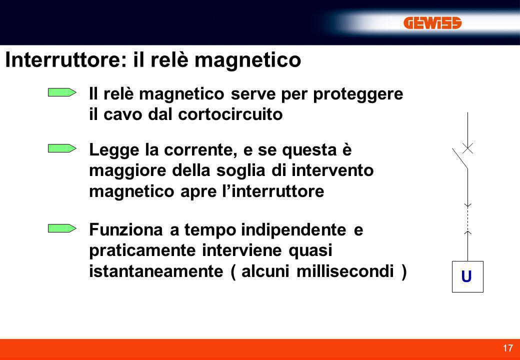 17 Interruttore: il relè magnetico Il relè magnetico serve per proteggere il cavo dal cortocircuito U Legge la corrente, e se questa è maggiore della