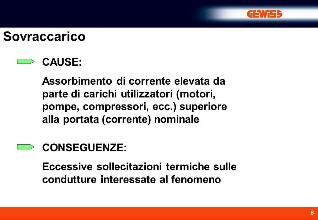 6 Sovraccarico CAUSE: Assorbimento di corrente elevata da parte di carichi utilizzatori (motori, pompe, compressori, ecc.) superiore alla portata (cor