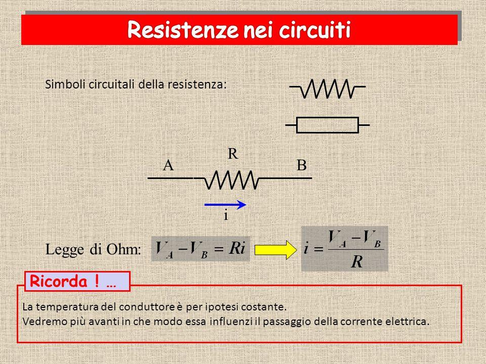 TensioneIntensitàV/ i Conduttore di rame [volt][ampere][ohm] 0,300,400,75 0,600,800,75 0,901,200,75 TensioneIntensitàV/ i Conduttore di costantana [volt][ampere][ohm] 0,300,01520 0,600,03020 0,900,04520 Minore pendenza Maggiore resistenza Maggiore pendenza Minore resistenza