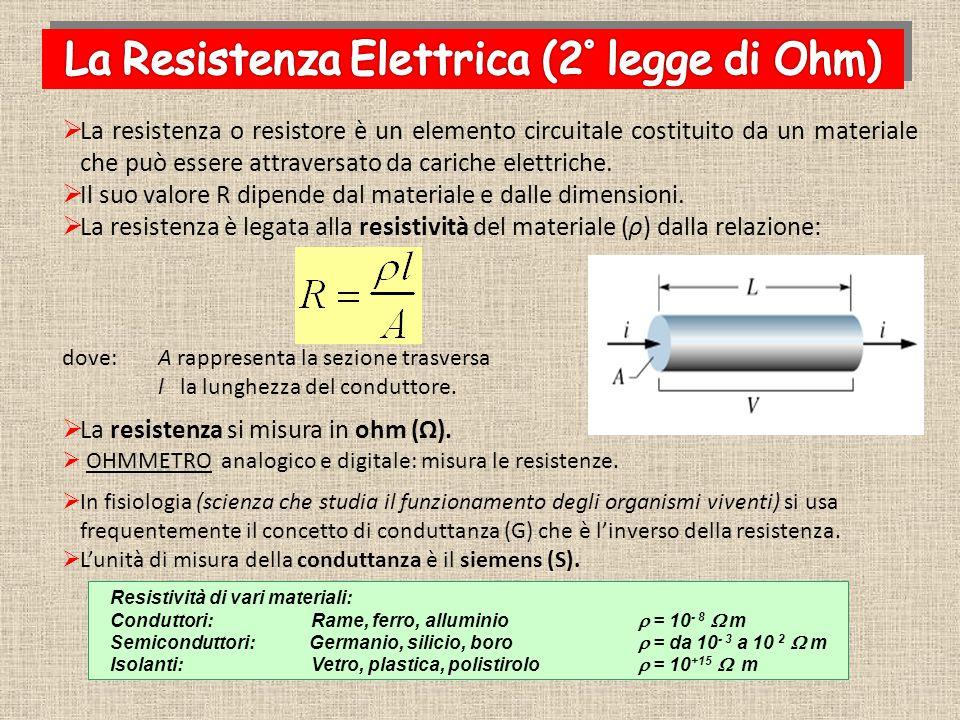  La resistenza o resistore è un elemento circuitale costituito da un materiale che può essere attraversato da cariche elettriche.  Il suo valore R d