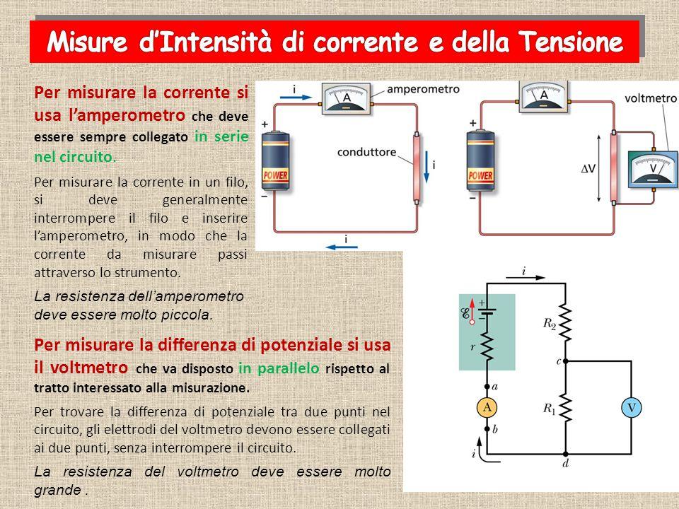 Per misurare la differenza di potenziale si usa il voltmetro che va disposto in parallelo rispetto al tratto interessato alla misurazione. Per trovare