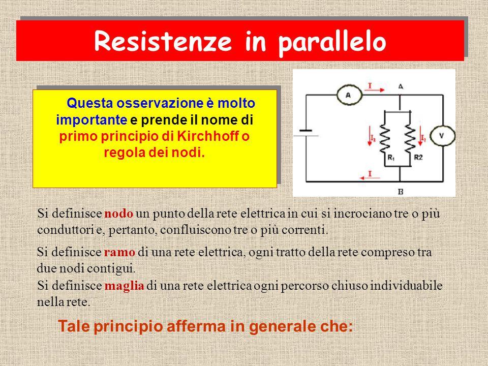Il collegamento in parallelo si realizza collegando tutte le resistenze alla stessa d.d.p. R1R1 R2R2 A B i i i1i1 i2i2 Legge di Ohm per R 1 : Legge di
