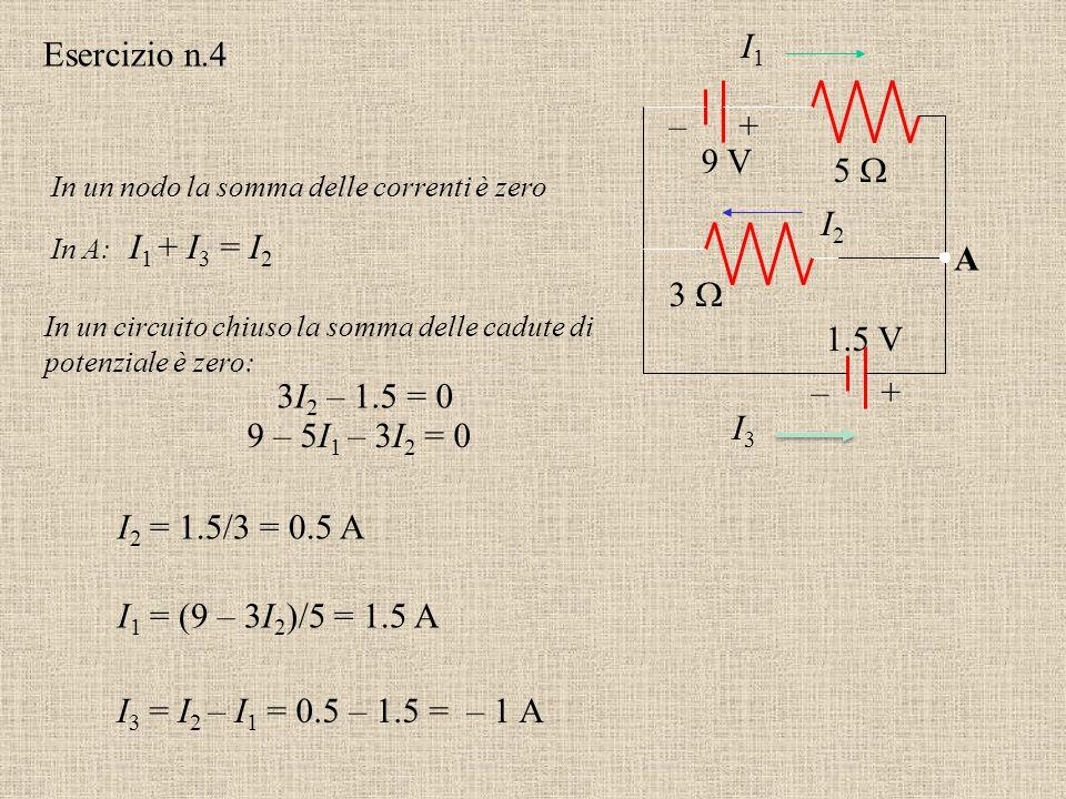 Esercizio n.3 Usare la legge dei nodi di Kirchoff e la legge per le maglie per calcolare la corrente attraverso ciascuno dei resistori e la d.d.p. all