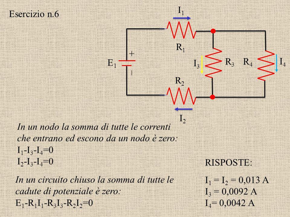 +–+–  9 V 5   9 V Un circuito stupido Quale corrente fluisce attraverso il resistore?I= 0 A (guarda le d. d. p.) Esercizio n.5