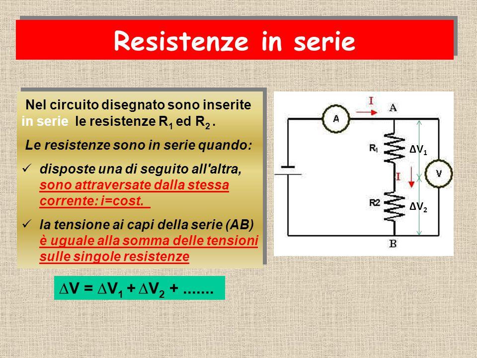 Resistenze in serie Nel circuito disegnato sono inserite in serie le resistenze R 1 ed R 2.
