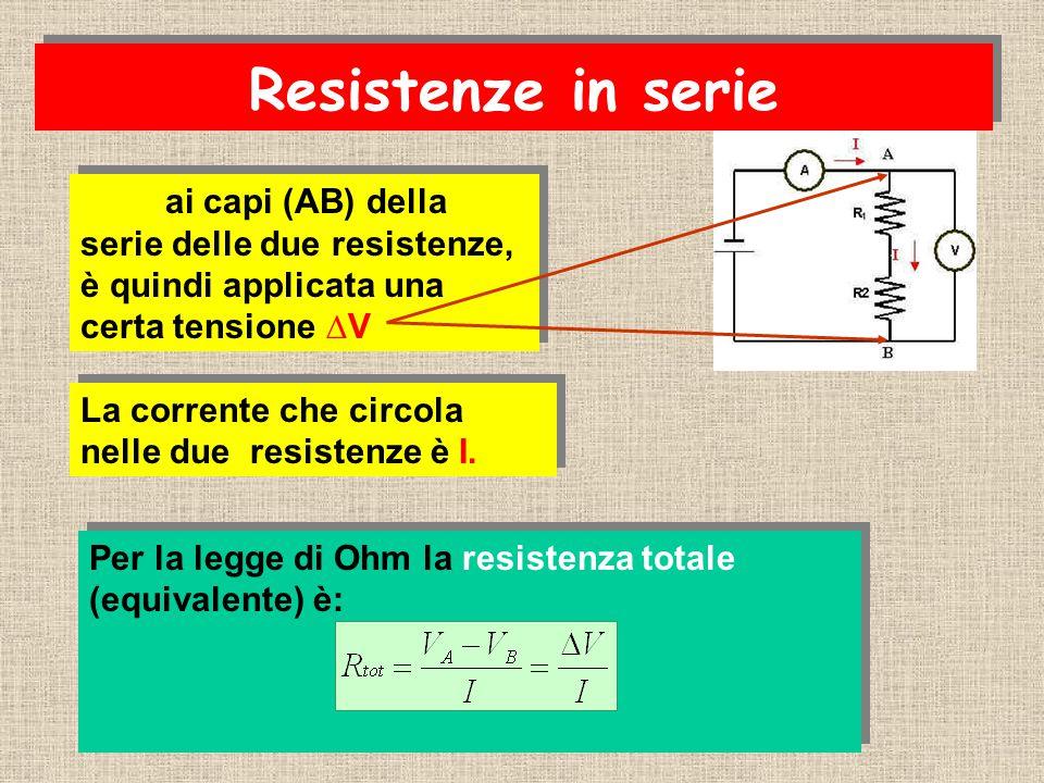 ai capi (AB) della serie delle due resistenze, è quindi applicata una certa tensione ∆V Per la legge di Ohm la resistenza totale (equivalente) è: Per la legge di Ohm la resistenza totale (equivalente) è: La corrente che circola nelle due resistenze è I.