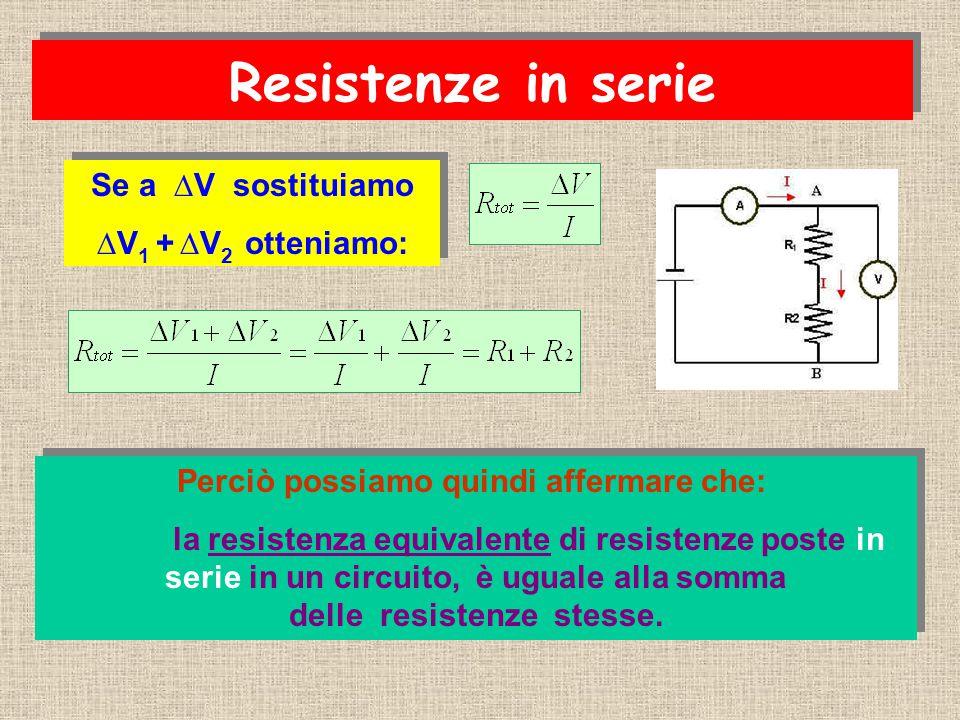 Se a ∆V sostituiamo ∆V 1 + ∆V 2 otteniamo: Se a ∆V sostituiamo ∆V 1 + ∆V 2 otteniamo: Perciò possiamo quindi affermare che: la resistenza equivalente di resistenze poste in serie in un circuito, è uguale alla somma delle resistenze stesse.