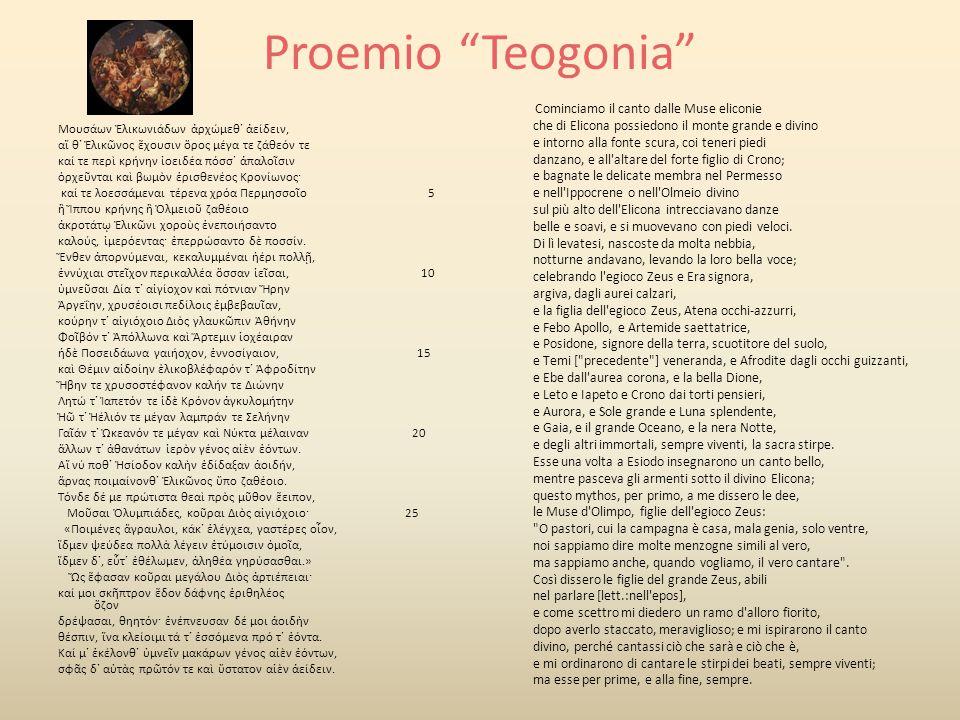 Proemio Opere e i giorni Μοῦσαι Πιερίηθεν ἀοιδῇσι κλείουσαι, δεῦτε Δί ἐννέπετε, σφέτερον πατέρ ὑμνείουσαι.