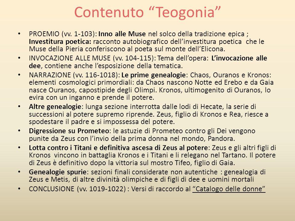 Contenuto Opere e i giorni PROEMIO (vv.