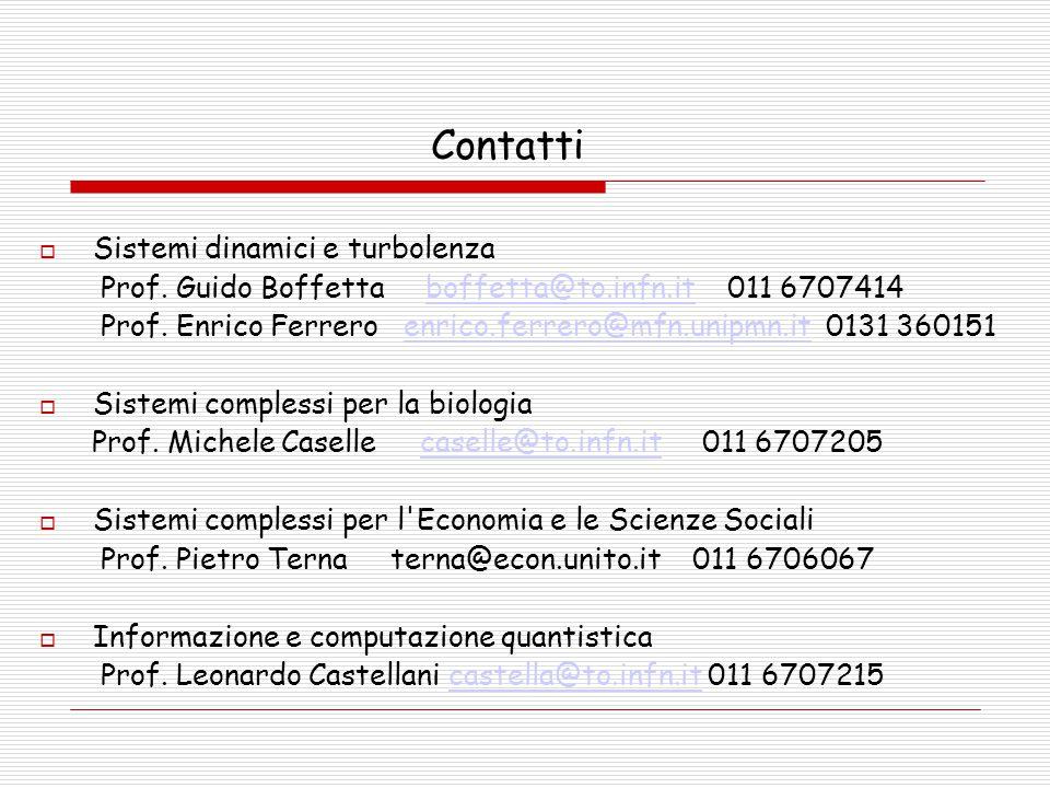 Contatti  Sistemi dinamici e turbolenza Prof. Guido Boffetta boffetta@to.infn.it 011 6707414boffetta@to.infn.it Prof. Enrico Ferrero enrico.ferrero@m