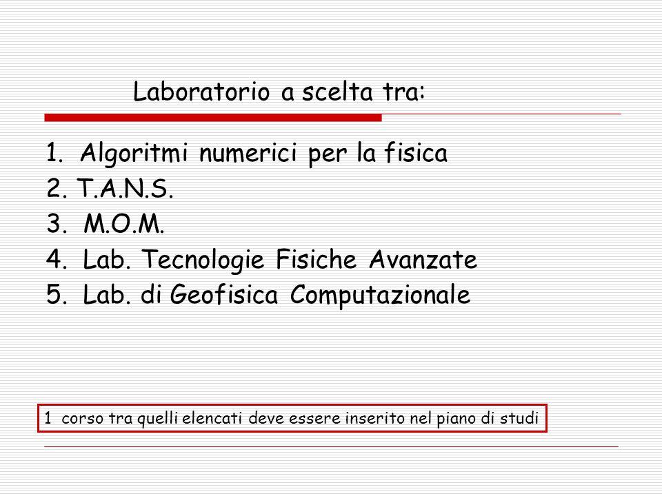 Laboratorio a scelta tra: 1.Algoritmi numerici per la fisica 2.