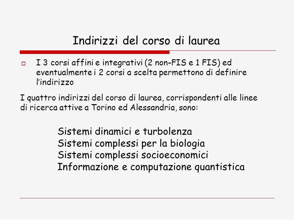 Indirizzi del corso di laurea  I 3 corsi affini e integrativi (2 non-FIS e 1 FIS) ed eventualmente i 2 corsi a scelta permettono di definire l'indirizzo Sistemi dinamici e turbolenza Sistemi complessi per la biologia Sistemi complessi socioeconomici Informazione e computazione quantistica I quattro indirizzi del corso di laurea, corrispondenti alle linee di ricerca attive a Torino ed Alessandria, sono: