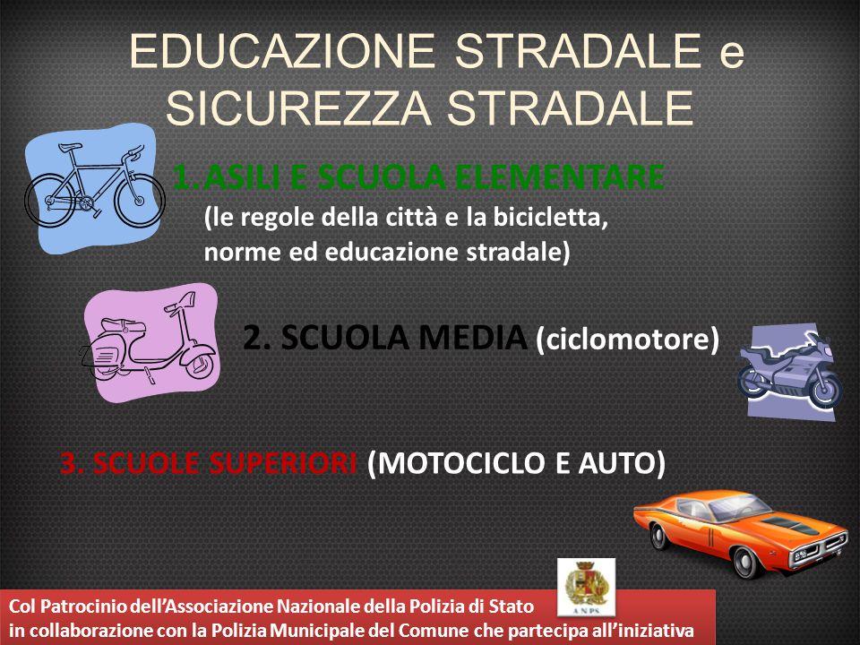 EDUCAZIONE STRADALE e SICUREZZA STRADALE 1.ASILI E SCUOLA ELEMENTARE (le regole della città e la bicicletta, norme ed educazione stradale) 3. SCUOLE S