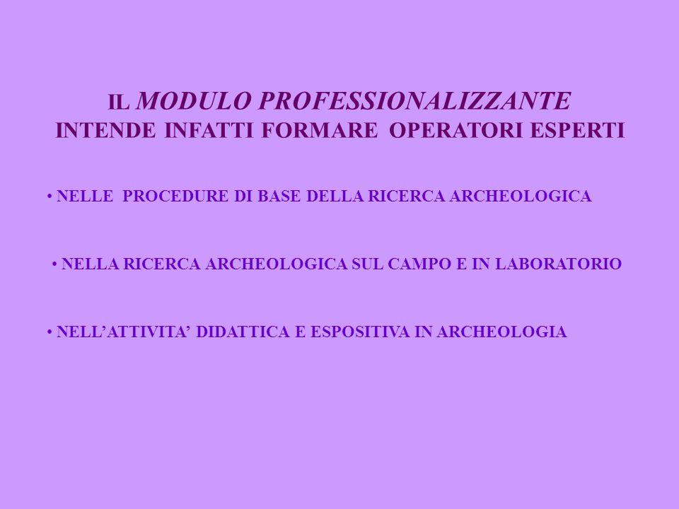 IL MODULO PROFESSIONALIZZANTE INTENDE INFATTI FORMARE OPERATORI ESPERTI NELL'ATTIVITA' DIDATTICA E ESPOSITIVA IN ARCHEOLOGIA NELLA RICERCA ARCHEOLOGICA SUL CAMPO E IN LABORATORIO NELLE PROCEDURE DI BASE DELLA RICERCA ARCHEOLOGICA