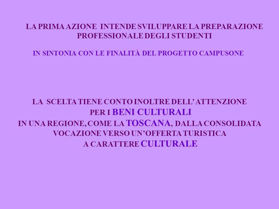 LA PRIMA AZIONE INTENDE SVILUPPARE LA PREPARAZIONE PROFESSIONALE DEGLI STUDENTI IN SINTONIA CON LE FINALITÀ DEL PROGETTO CAMPUSONE LA SCELTA TIENE CONTO INOLTRE DELL' ATTENZIONE PER I BENI CULTURALI IN UNA REGIONE, COME LA TOSCANA, DALLA CONSOLIDATA VOCAZIONE VERSO UN'OFFERTA TURISTICA A CARATTERE CULTURALE