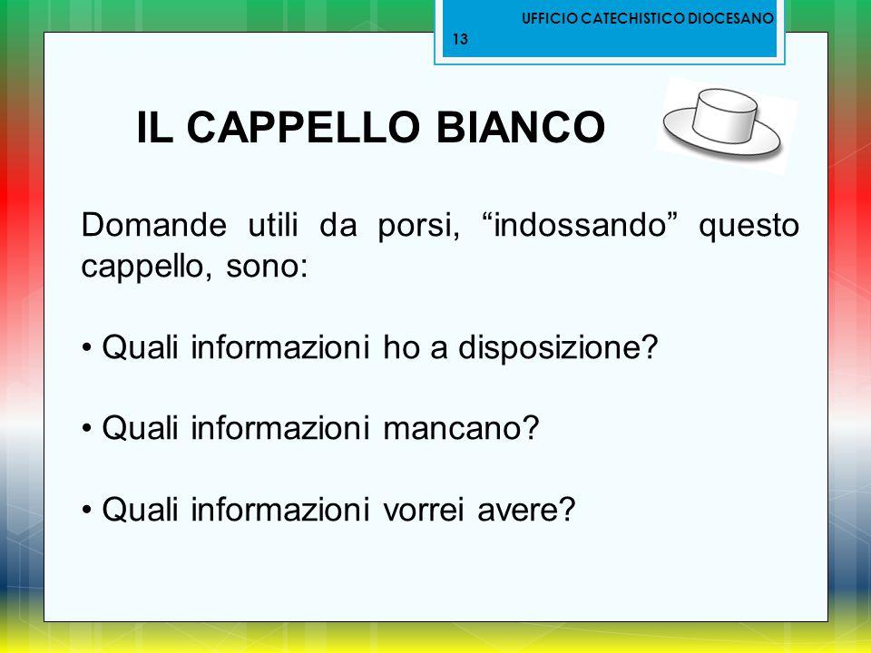 """UFFICIO CATECHISTICO DIOCESANO 13 IL CAPPELLO BIANCO Domande utili da porsi, """"indossando"""" questo cappello, sono: Quali informazioni ho a disposizione?"""