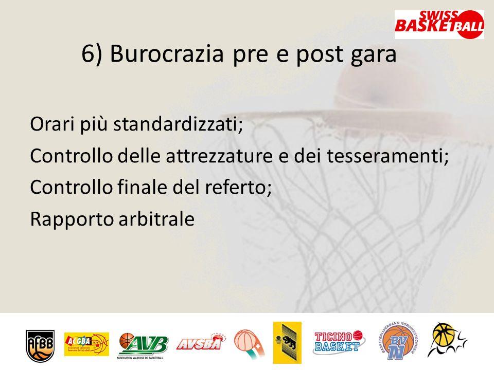 6) Burocrazia pre e post gara Orari più standardizzati; Controllo delle attrezzature e dei tesseramenti; Controllo finale del referto; Rapporto arbitrale