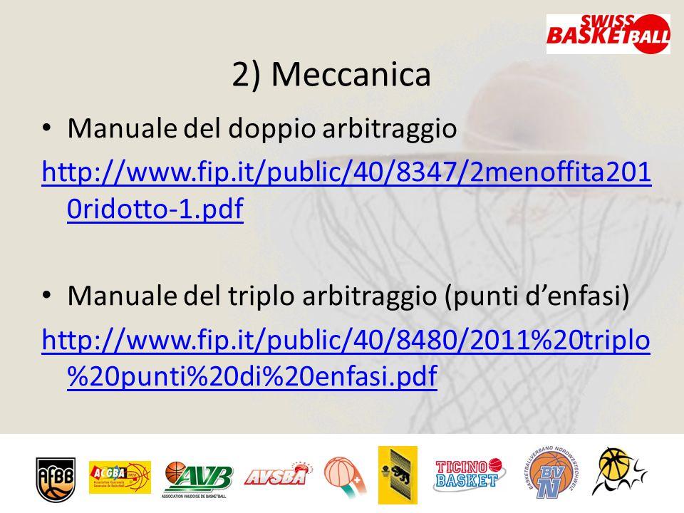 2) Meccanica Manuale del doppio arbitraggio http://www.fip.it/public/40/8347/2menoffita201 0ridotto-1.pdf Manuale del triplo arbitraggio (punti d'enfasi) http://www.fip.it/public/40/8480/2011%20triplo %20punti%20di%20enfasi.pdf