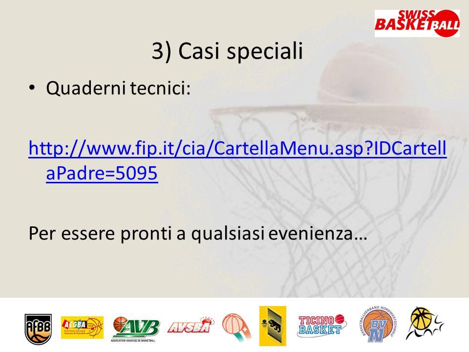 3) Casi speciali Quaderni tecnici: http://www.fip.it/cia/CartellaMenu.asp?IDCartell aPadre=5095 Per essere pronti a qualsiasi evenienza…