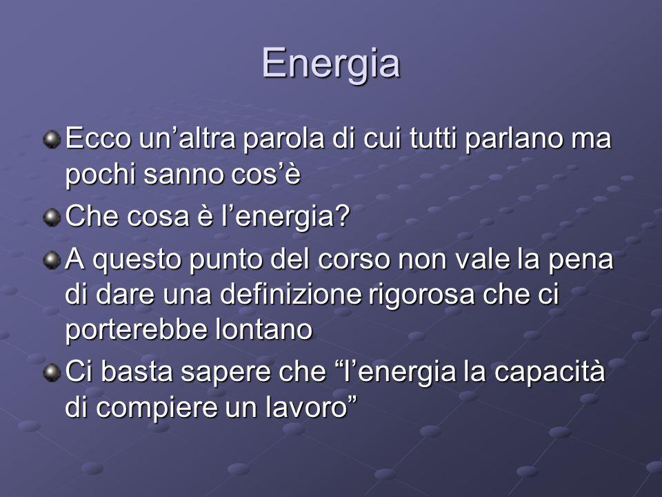 Energia Ecco un'altra parola di cui tutti parlano ma pochi sanno cos'è Che cosa è l'energia? A questo punto del corso non vale la pena di dare una def