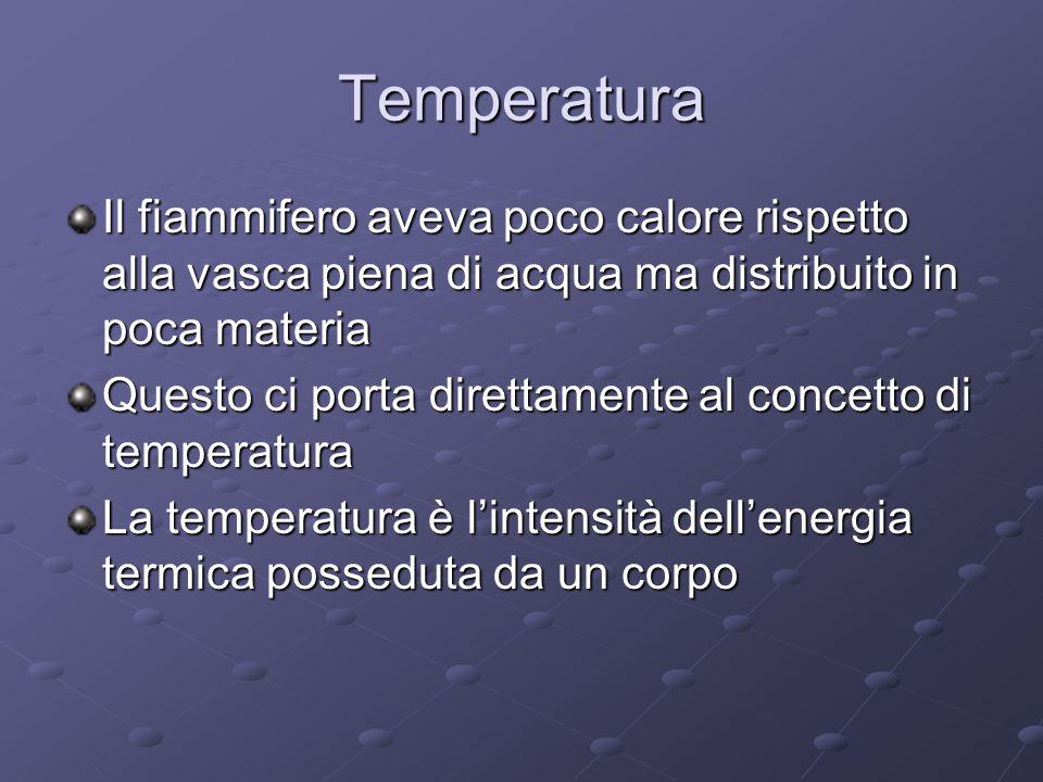 Temperatura Il fiammifero aveva poco calore rispetto alla vasca piena di acqua ma distribuito in poca materia Questo ci porta direttamente al concetto di temperatura La temperatura è l'intensità dell'energia termica posseduta da un corpo