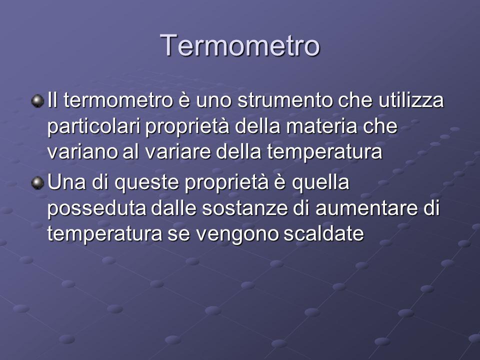 Termometro Il termometro è uno strumento che utilizza particolari proprietà della materia che variano al variare della temperatura Una di queste propr