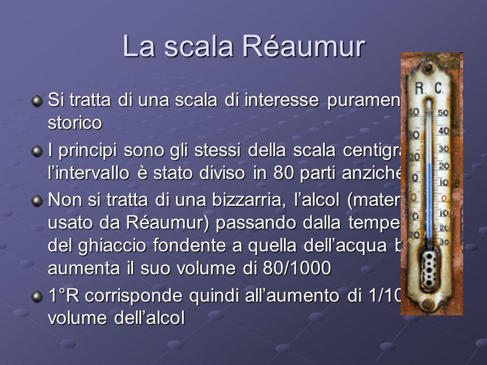 La scala Réaumur Si tratta di una scala di interesse puramente storico I principi sono gli stessi della scala centigrada ma l'intervallo è stato diviso in 80 parti anziché 100 Non si tratta di una bizzarria, l'alcol (materiale usato da Réaumur) passando dalla temperatura del ghiaccio fondente a quella dell'acqua bollente aumenta il suo volume di 80/1000 1°R corrisponde quindi all'aumento di 1/1000 del volume dell'alcol