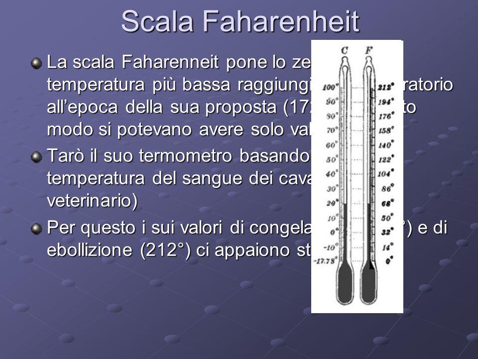 Scala Faharenheit La scala Faharenneit pone lo zero alla temperatura più bassa raggiungibile in laboratorio all'epoca della sua proposta (1724) in questo modo si potevano avere solo valori positivi Tarò il suo termometro basandolo sulla temperatura del sangue dei cavalli (era veterinario) Per questo i sui valori di congelamento (32°) e di ebollizione (212°) ci appaiono strani