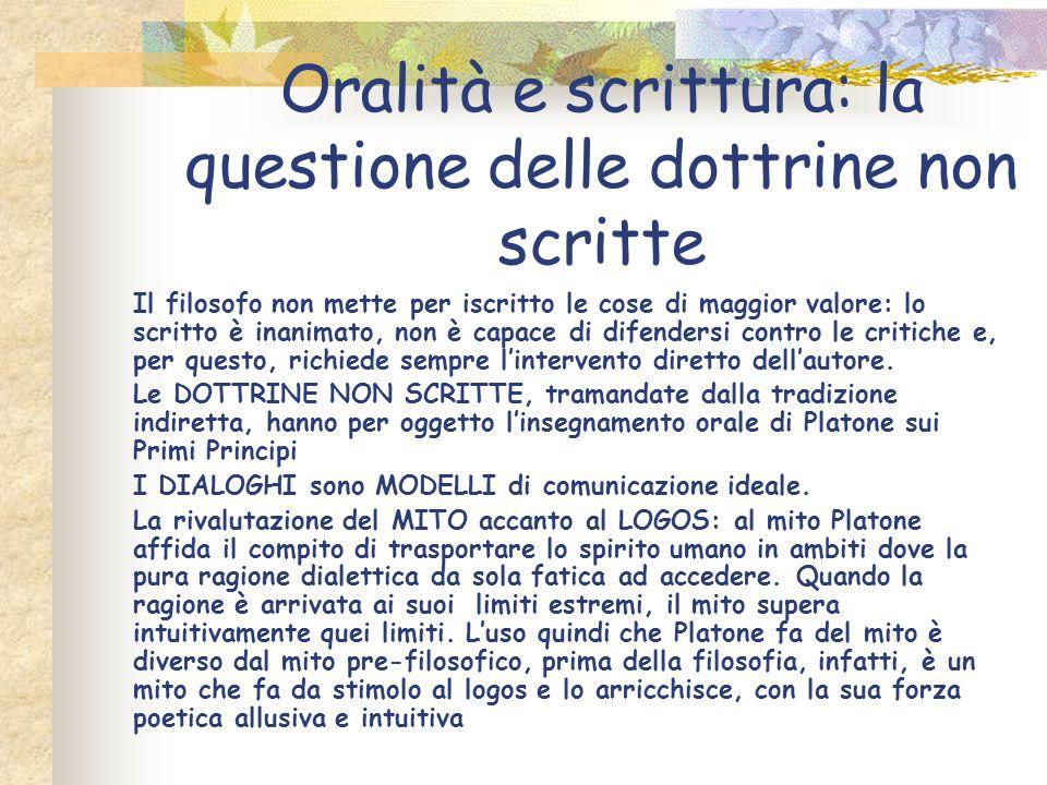 Oralità e scrittura: la questione delle dottrine non scritte Il filosofo non mette per iscritto le cose di maggior valore: lo scritto è inanimato, non