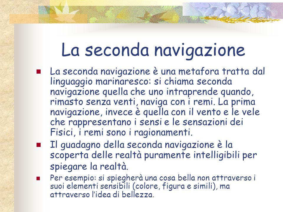 La seconda navigazione La seconda navigazione è una metafora tratta dal linguaggio marinaresco: si chiama seconda navigazione quella che uno intrapren