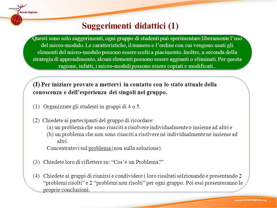 Suggerimenti didattici (2) (II) Usate il micro-modulo Cos'è un problema? per rinforzare ed approfondire la comprensione del concetto di Problema .