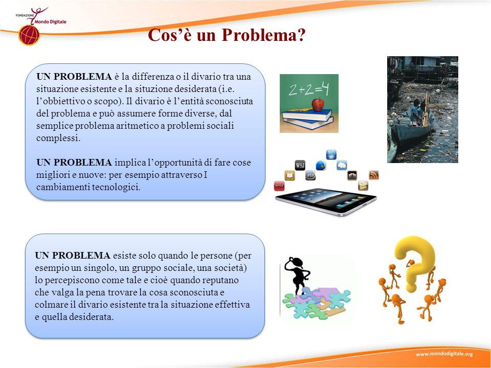 Cos'è un Problema? UN PROBLEMA è la differenza o il divario tra una situazione esistente e la situzione desiderata (i.e. l'obbiettivo o scopo). Il div