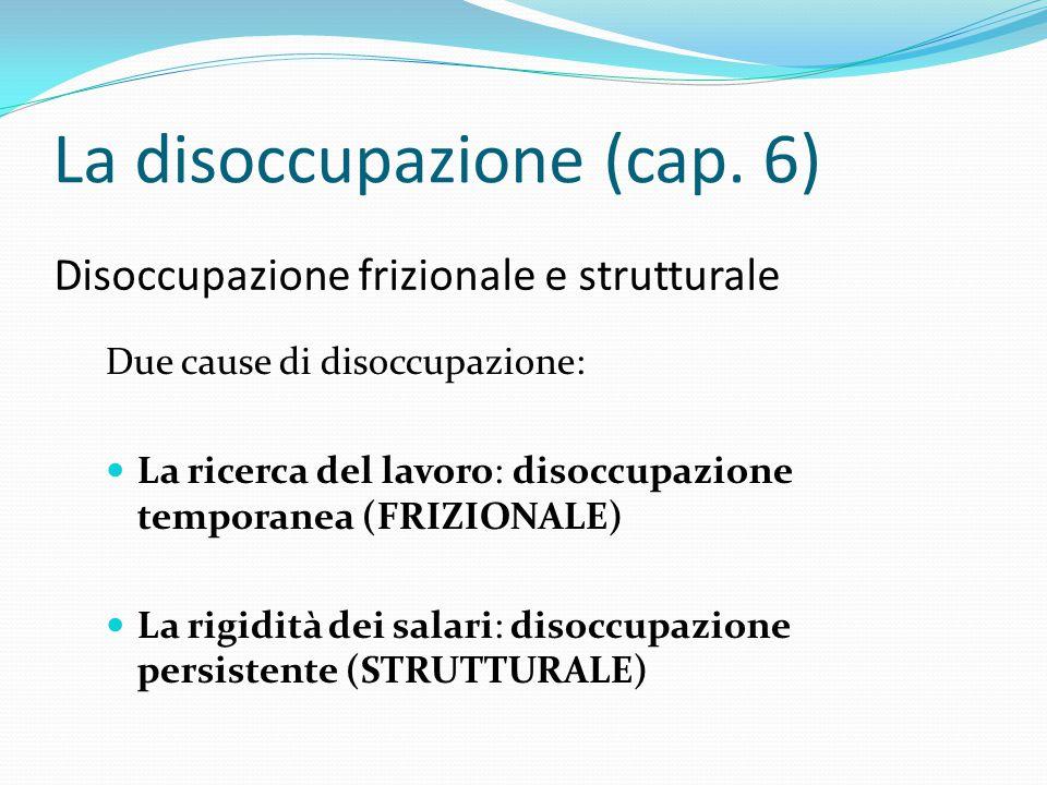 Disoccupazione frizionale e strutturale Due cause di disoccupazione: La ricerca del lavoro: disoccupazione temporanea (FRIZIONALE) La rigidità dei sal