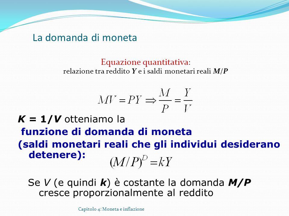 Capitolo 4: Moneta e inflazione La domanda di moneta Equazione quantitativa : relazione tra reddito Y e i saldi monetari reali M/P K = 1/V otteniamo l