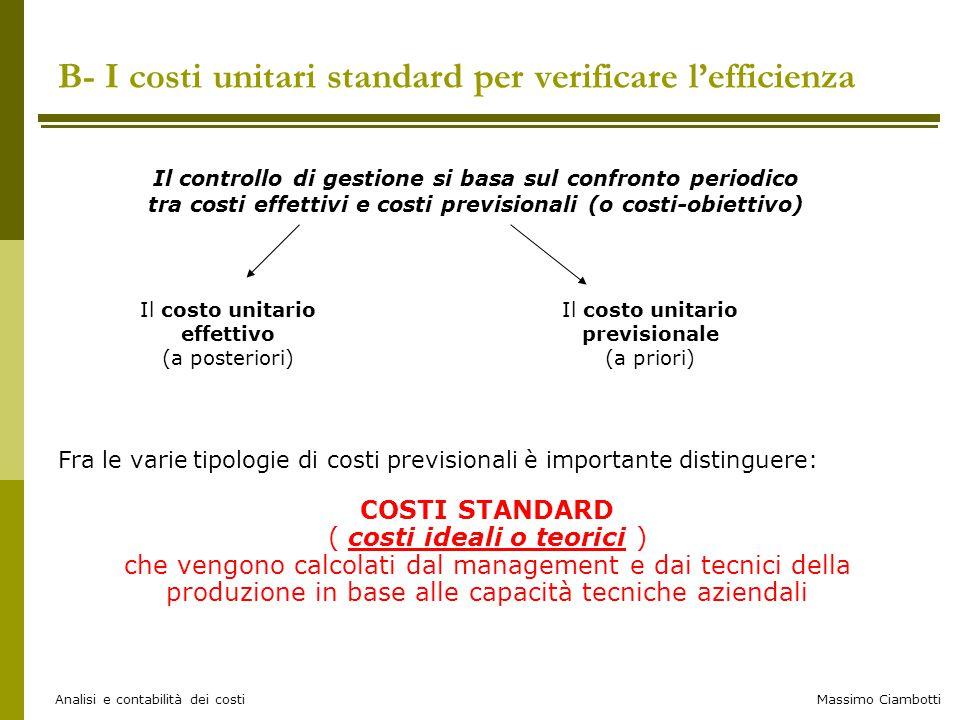 Massimo Ciambotti Analisi e contabilità dei costi B- I costi unitari standard per verificare l'efficienza Il costo unitario effettivo (a posteriori) I