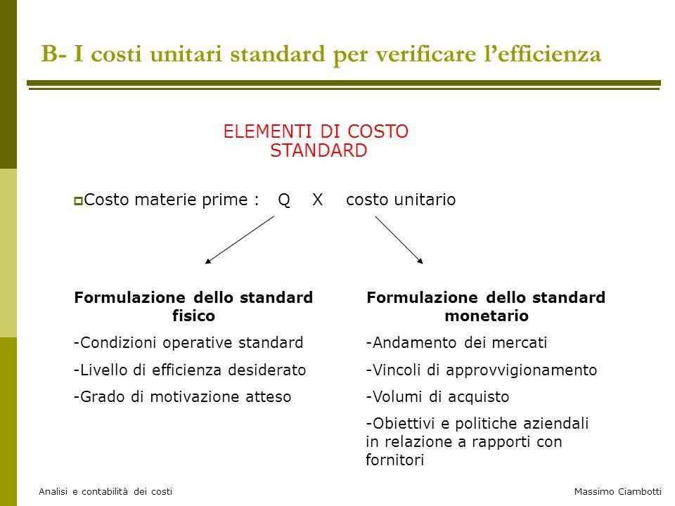 Massimo Ciambotti Analisi e contabilità dei costi ELEMENTI DI COSTO STANDARD  Costo materie prime : Q X costo unitario a B- I costi unitari standard