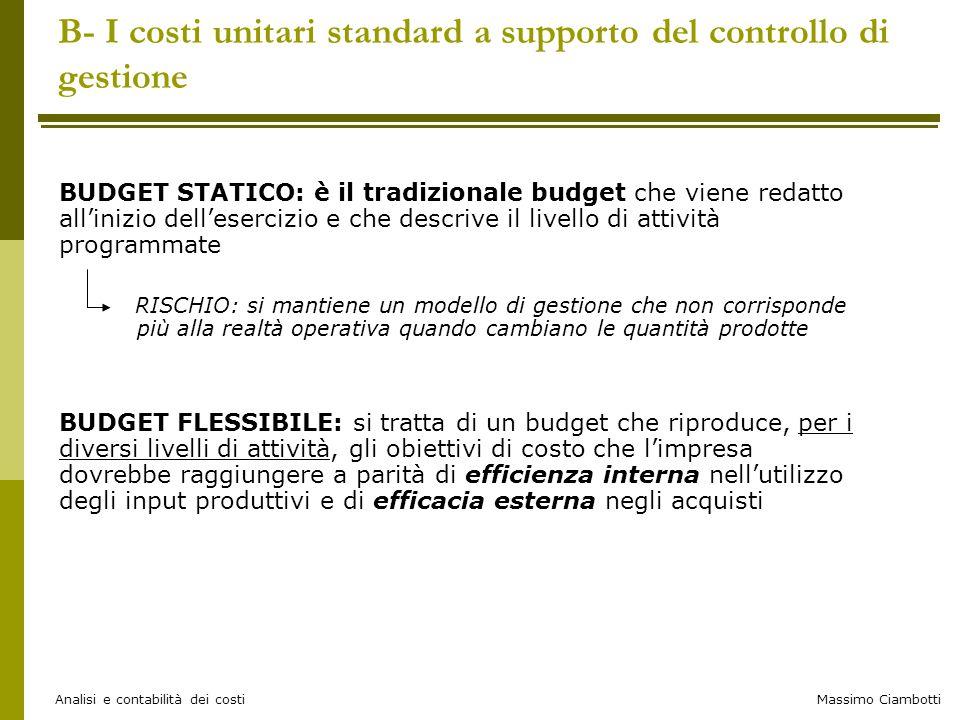 Massimo Ciambotti Analisi e contabilità dei costi B- I costi unitari standard a supporto del controllo di gestione BUDGET STATICO: è il tradizionale b