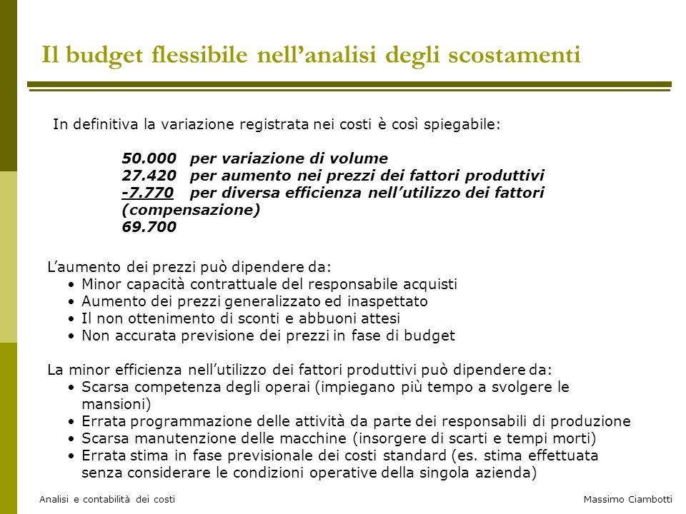 Massimo Ciambotti Analisi e contabilità dei costi Il budget flessibile nell'analisi degli scostamenti In definitiva la variazione registrata nei costi