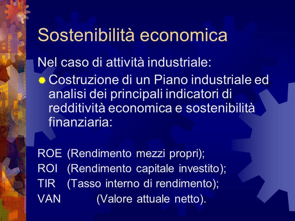 Sostenibilità economica Nel caso di attività industriale:  Costruzione di un Piano industriale ed analisi dei principali indicatori di redditività ec
