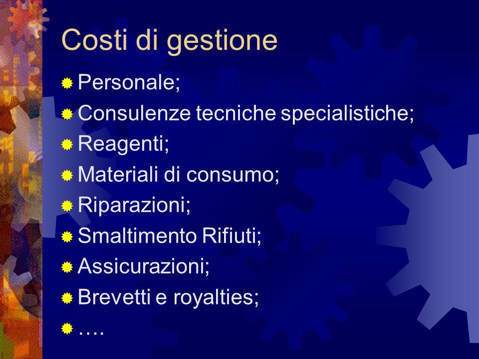 Costi di gestione  Personale;  Consulenze tecniche specialistiche;  Reagenti;  Materiali di consumo;  Riparazioni;  Smaltimento Rifiuti;  Assic