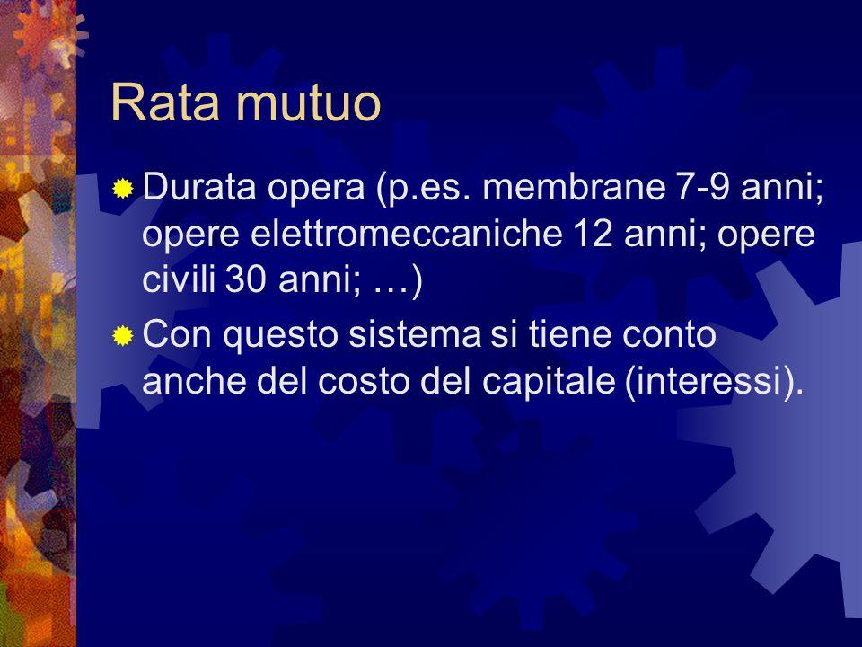 Rata mutuo  Durata opera (p.es. membrane 7-9 anni; opere elettromeccaniche 12 anni; opere civili 30 anni; …)  Con questo sistema si tiene conto anch